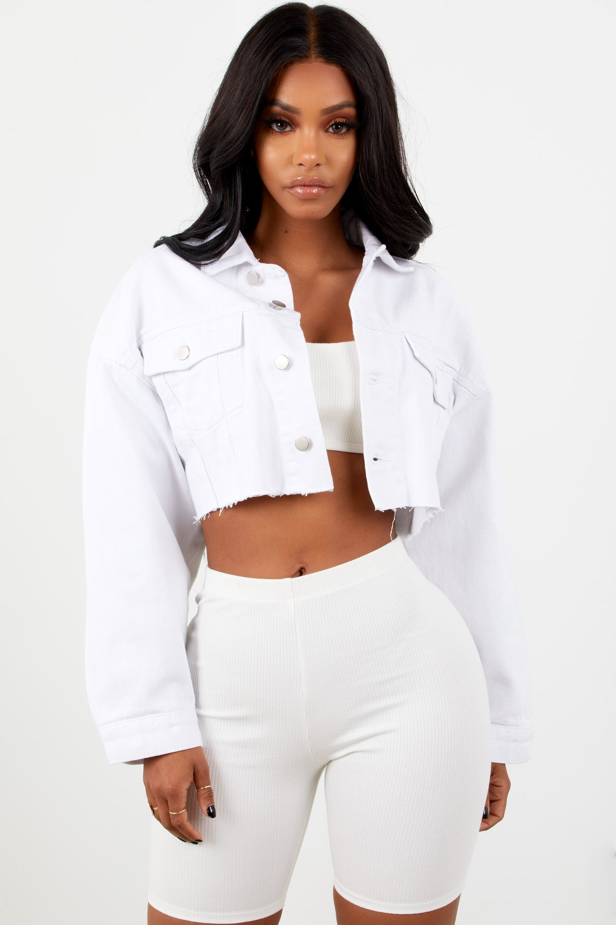 Sorella Ribbed Biker Shorts - White