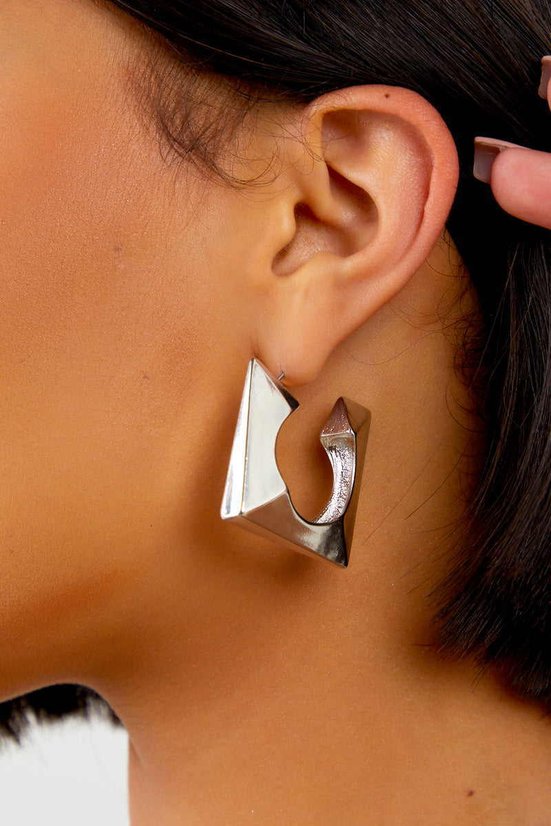 Silver Square Textured Earrings