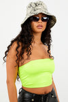 Neon Yellow Thin Strap Crop Top