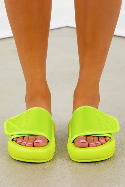 Velcro Platform Slide - Neon Yellow