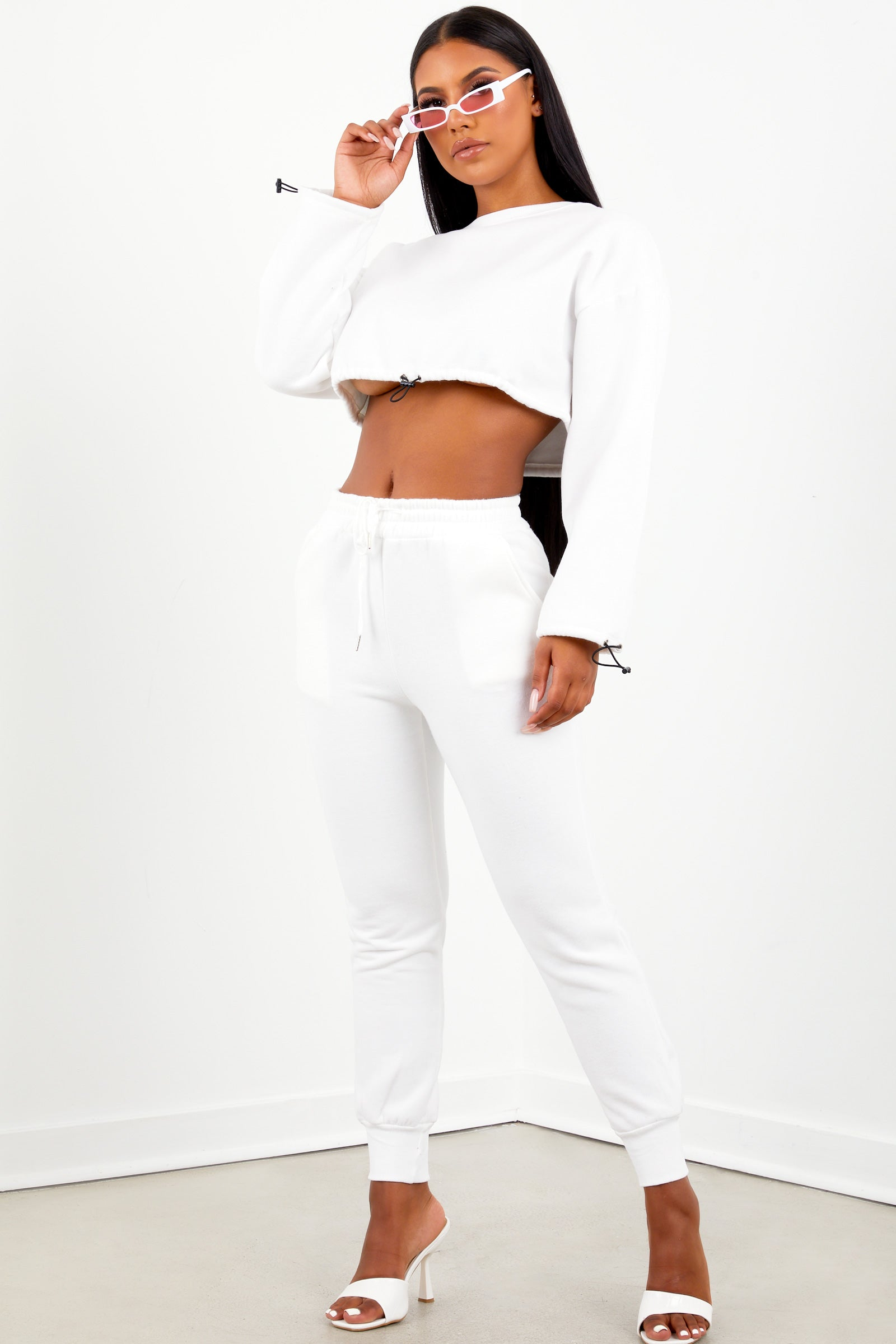 White Drawstring Jogger Set