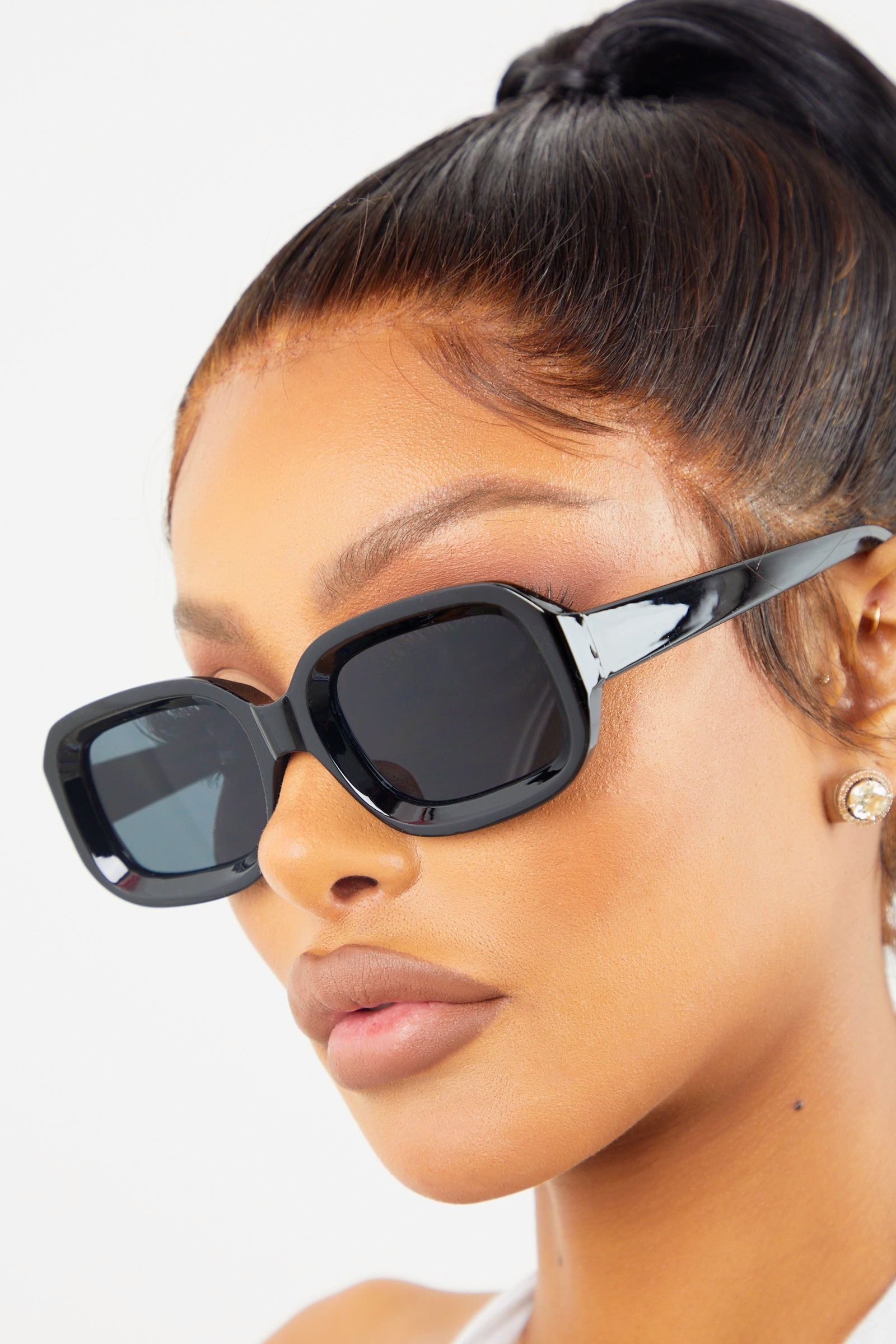 Black Chunky Rectangular Sunglasses