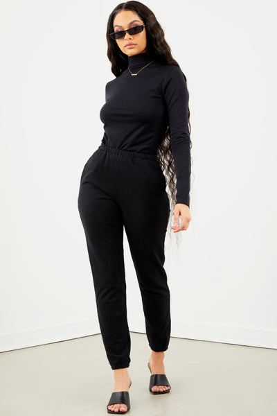 Black Basic Mock Neck Long Sleeve Top