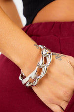 Silver Thick Chain Bangle