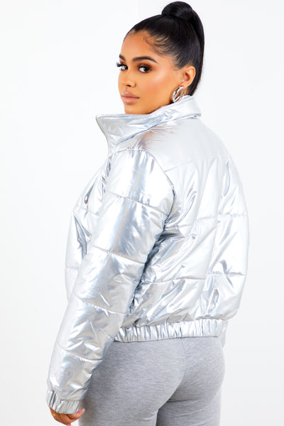 Silver Holographic Puffer Jacket