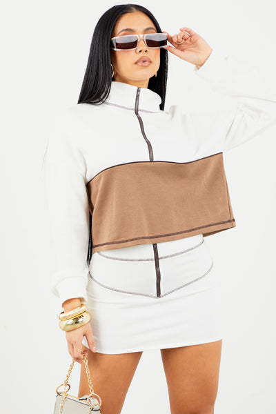Sorella Contrast Stitch Zip High Neck Sweater