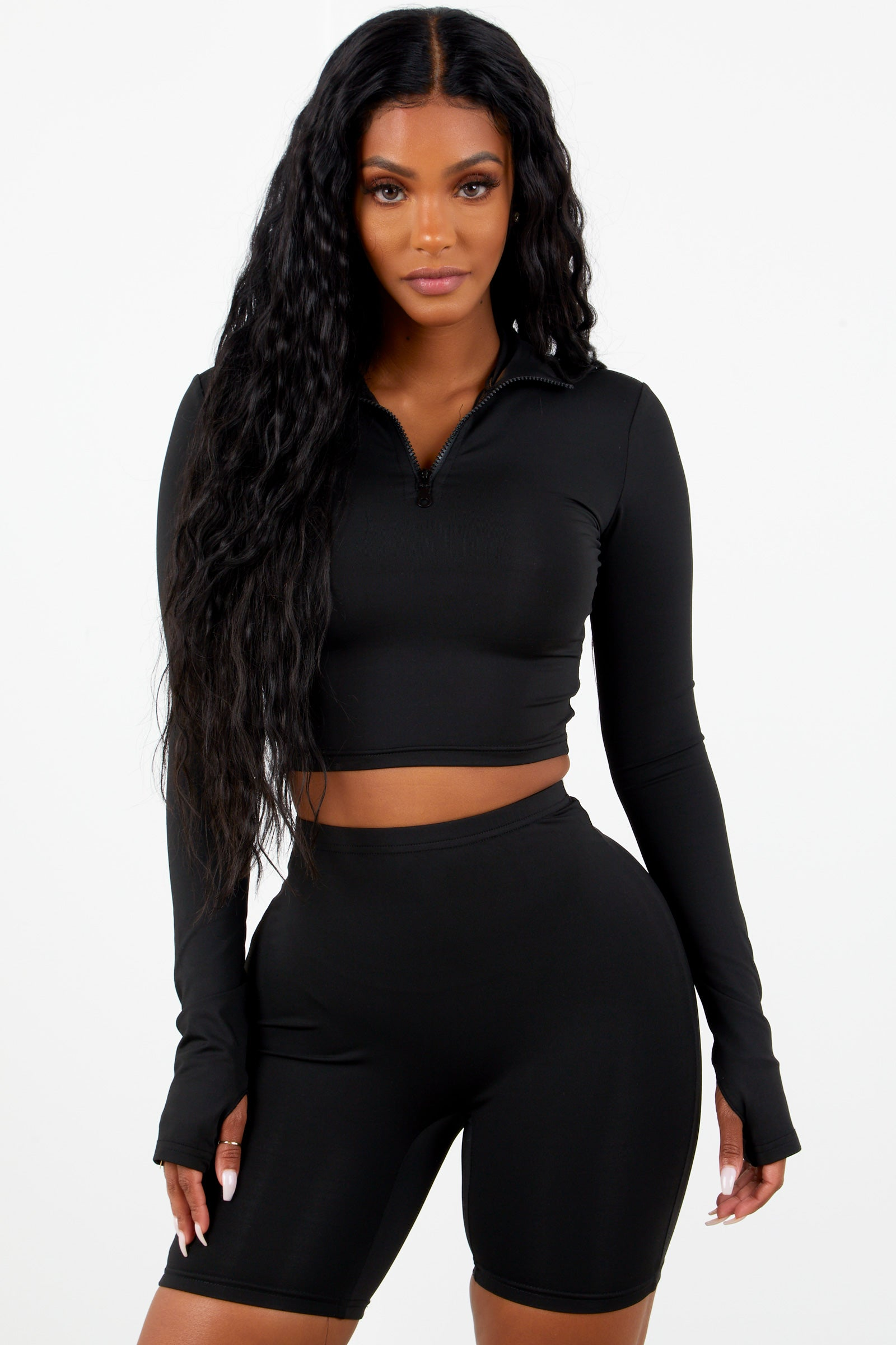Sporty Zipper Biker Set   Black by Sorella