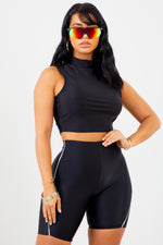Sorella Black High Neck Crop Top