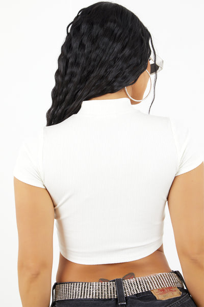 Sorella White Cut Out Crop Top