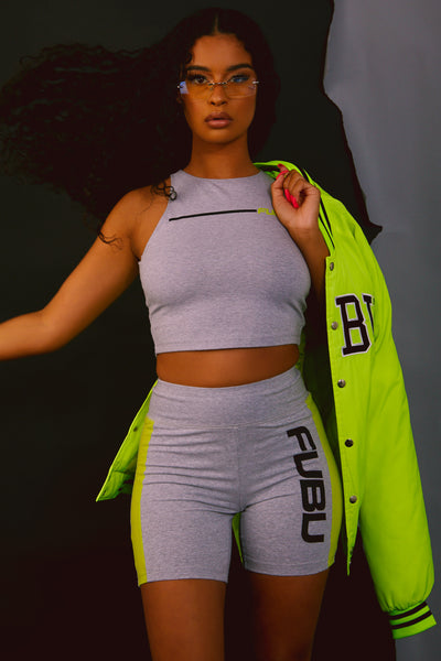 FUBU Grey Jersey Racerback Crop Top