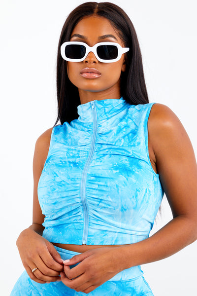 Sorella Sky Blue Tie Dye Zip Up Top