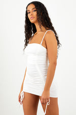 White Double Strap Ruched Dress