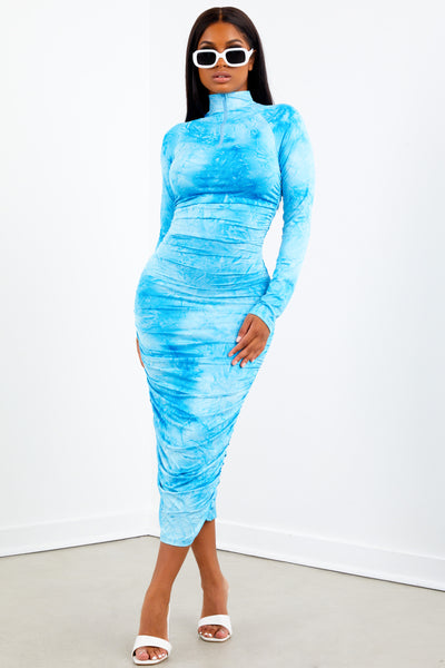 Sorella Sky Blue Mock Neck Zippered Dress