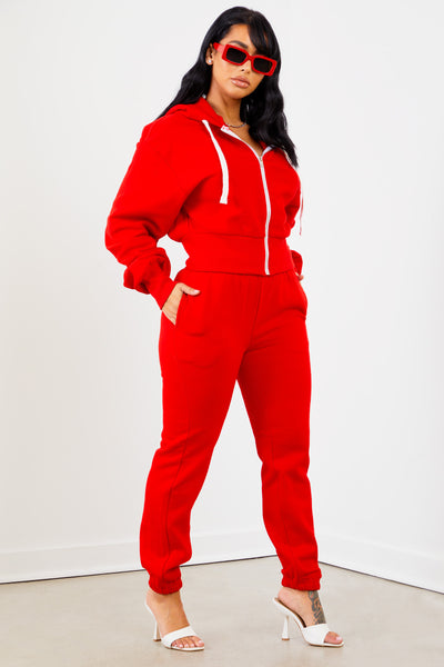Red Solid Sweatpants