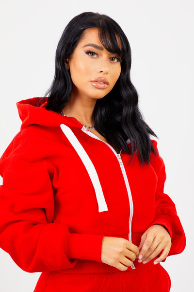 Red Solid Zip Up Jacket