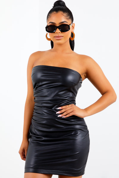 Sorella Faux Leather Strapless Mini Dress