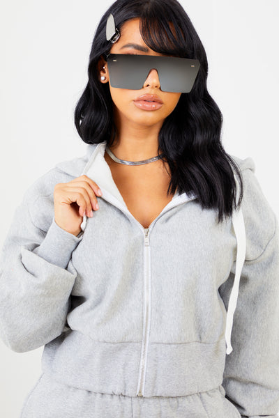Heather Grey Solid Zip Up Jacket