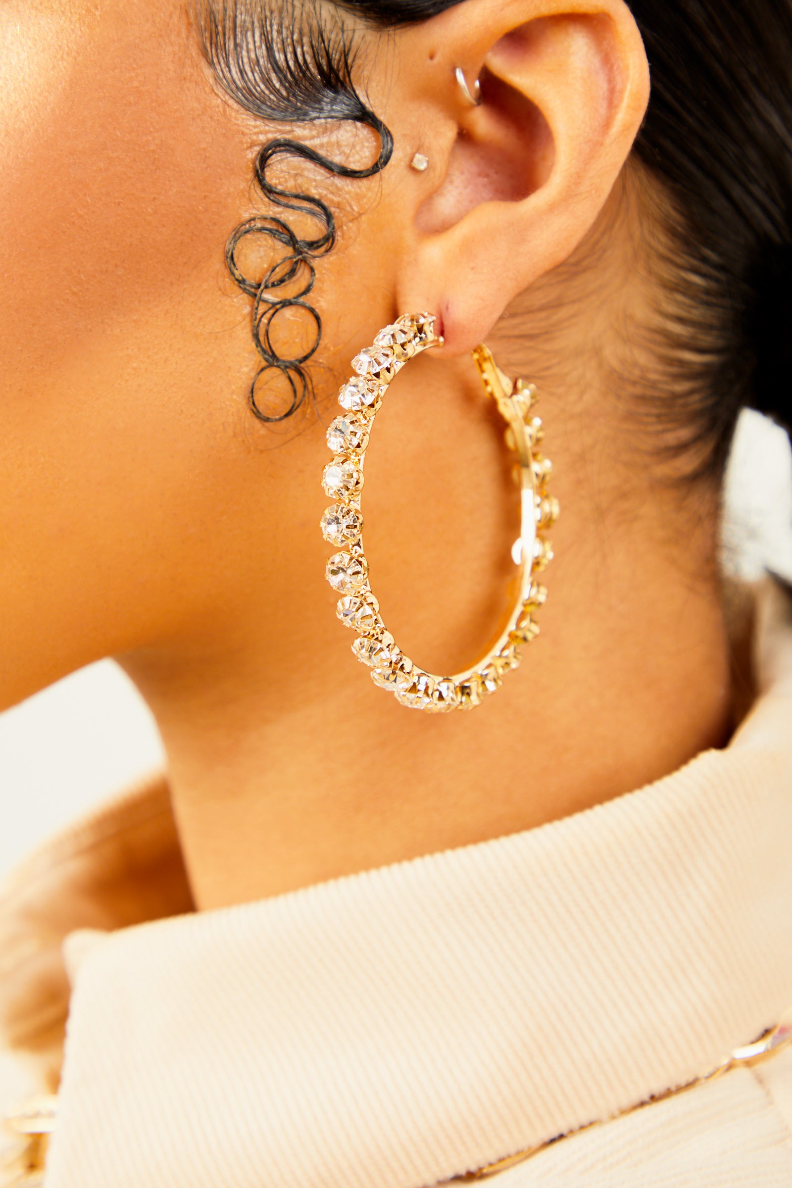 Gold Medium Studded Hoops