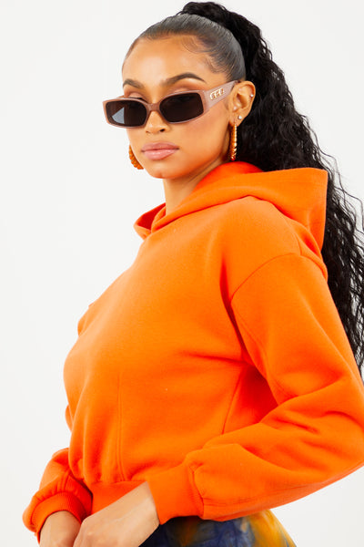 Orange Fleece Cropped Hoodie