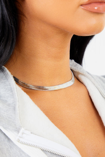 Flat Silver Chain Necklace