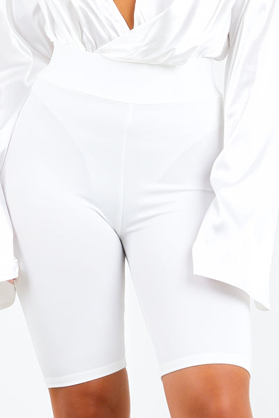 White High Waist Biker Shorts