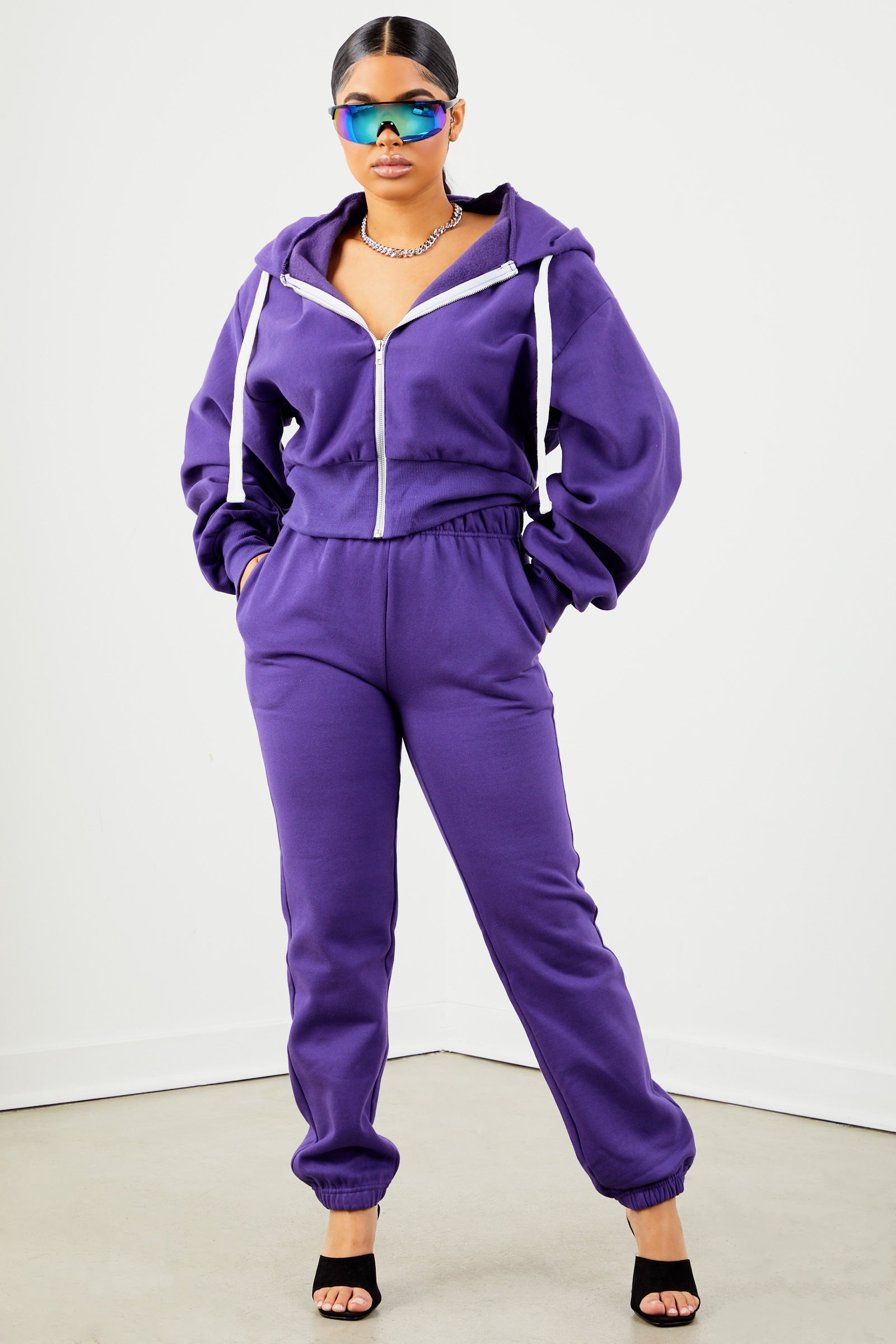 Purple Solid Sweatpants