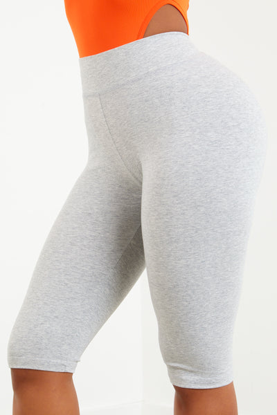 Heather Grey Cotton Capri Biker Shorts