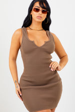 Mocha Ribbed V Neck Mini Dress