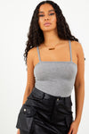Basic Square Neck Bodysuit - Grey