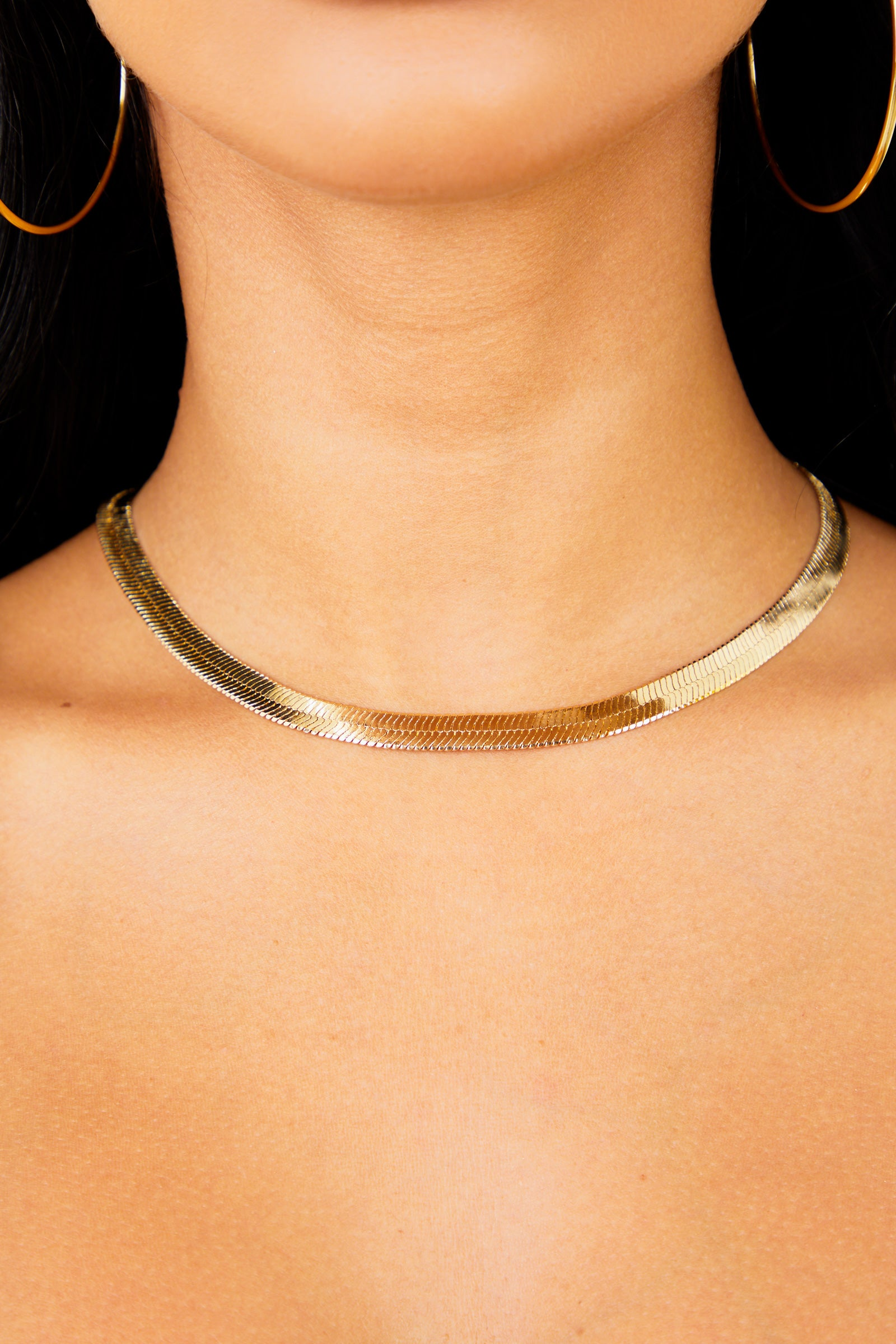 Flat Gold Chain Necklace