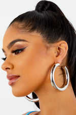 Silver Chunky Open Back Earrings