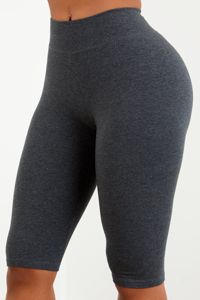 Charcoal Cotton Capri Biker Shorts