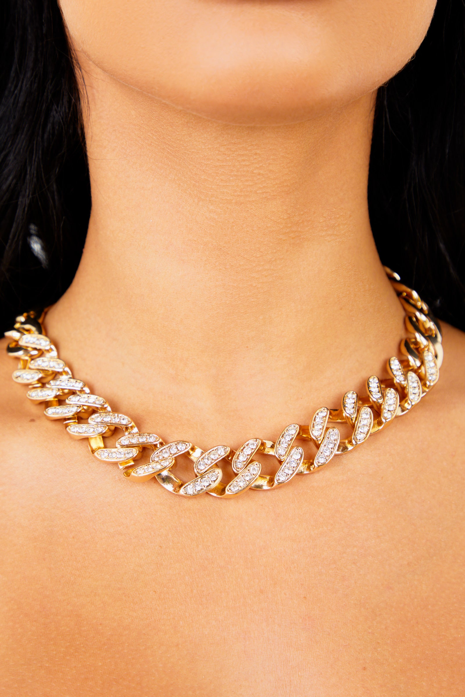 Thick Diamond Chain Necklace - Gold