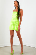 Neon Green Solid Satin Dress