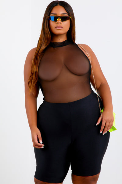 Black Shape Sleeveless Mesh Bodysuit