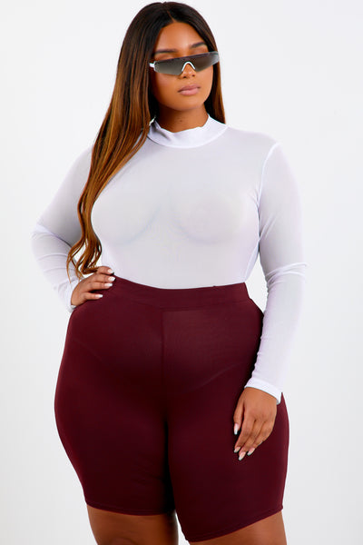 White Shape Mesh Long Sleeve Bodysuit
