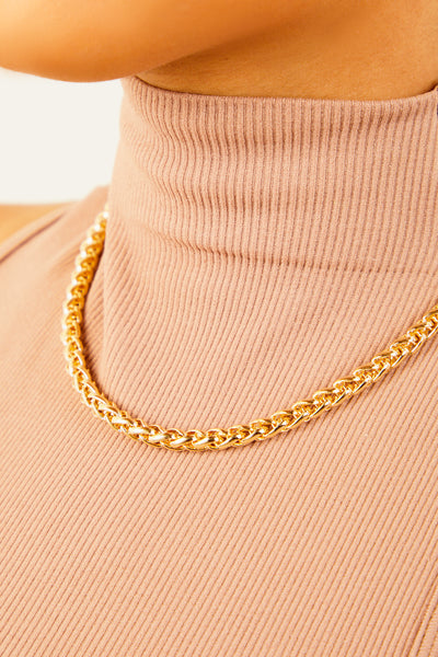 Gold Rope Solid Chain Necklace