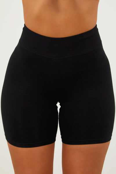 Black Cotton Biker Shorts