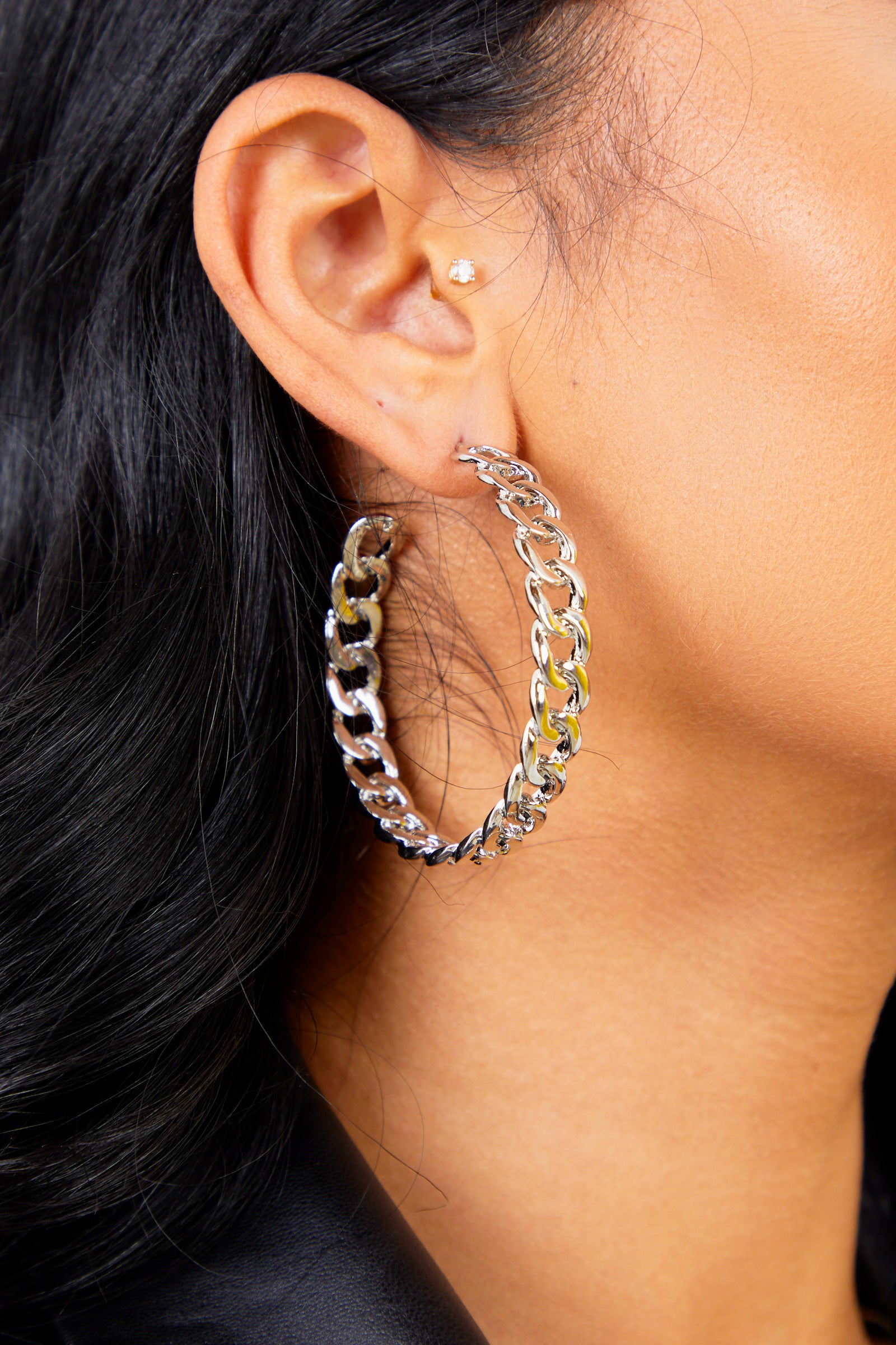 Silver Medium Chain Hoop Earrings