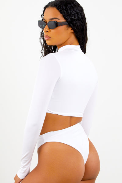 Sorella White Long Sleeve Bikini Set