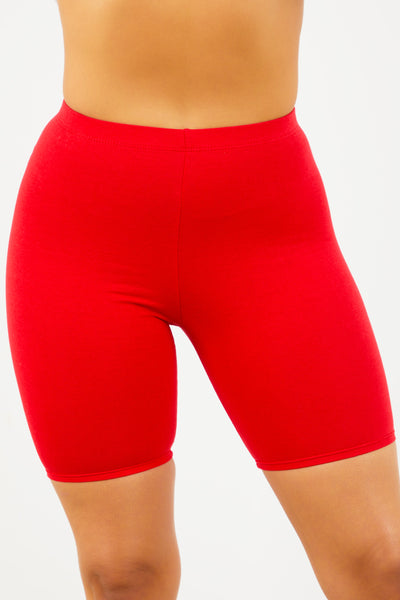 Red Cotton Cycle Shorts