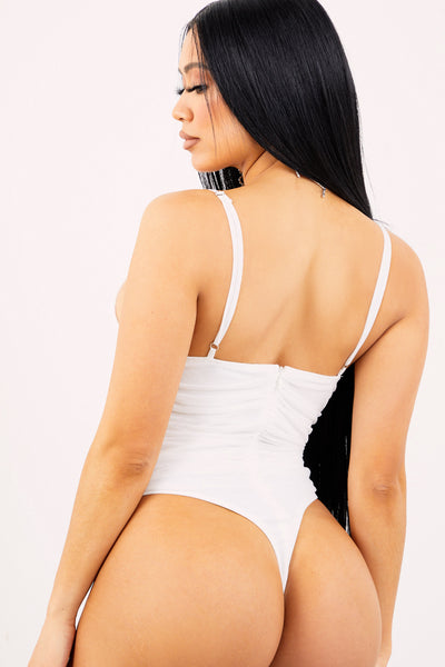 White Mesh Ruched Bodysuit