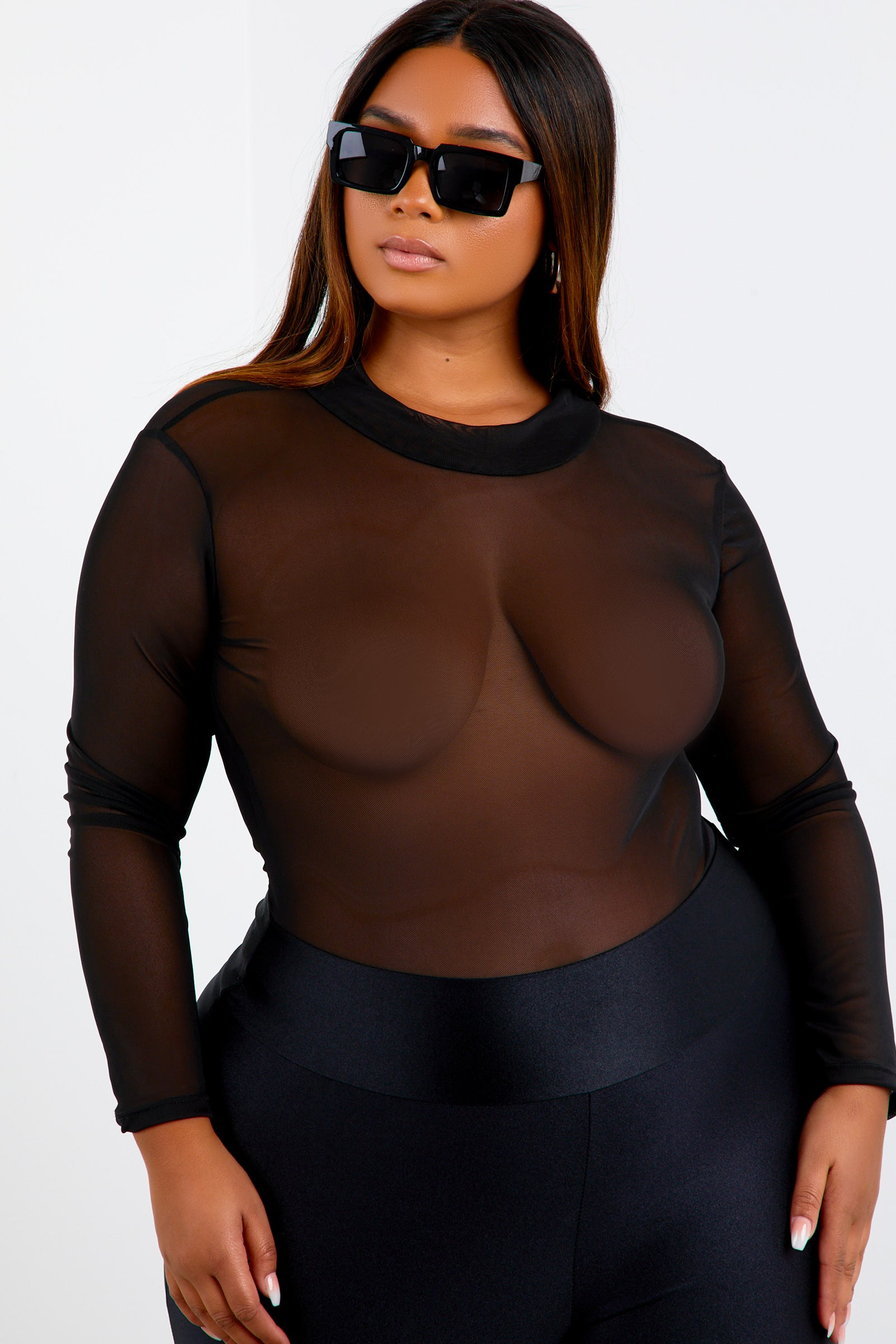 Black Shape Mesh Long Sleeve Bodysuit