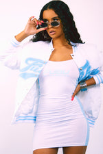 FUBU Bomber Jacket - White/Baby Blue