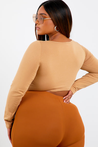 Khaki Shape Long Sleeve Crop Top