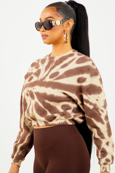 Brown Tie Dye Cropped Crewneck