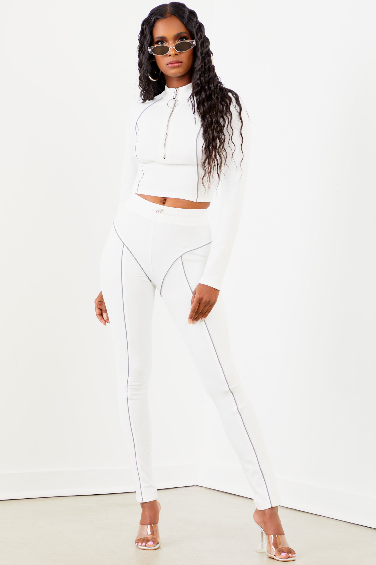 Sorella White Piping Legging Set