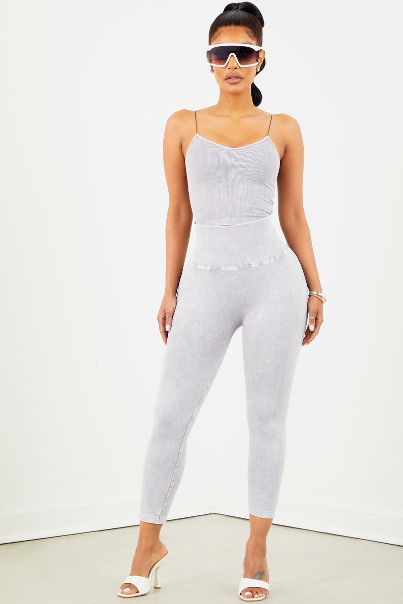 Cool Grey Highwaist Capri Legging