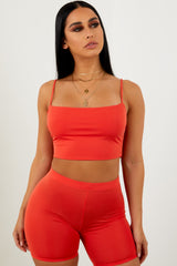 Sorella Cupro Biker Shorts - Orange