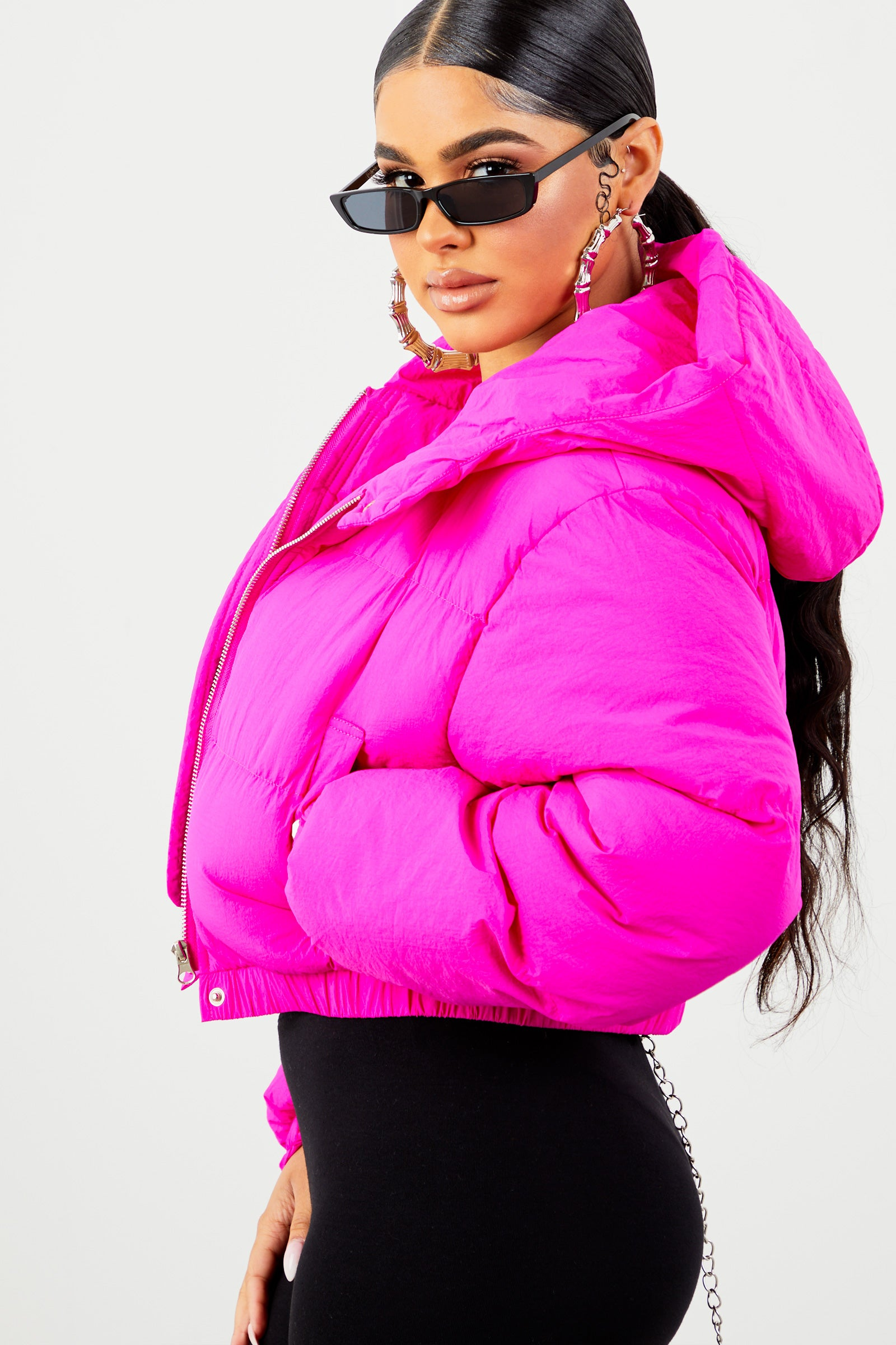 Fuchsia Cropped Hooded Puffer